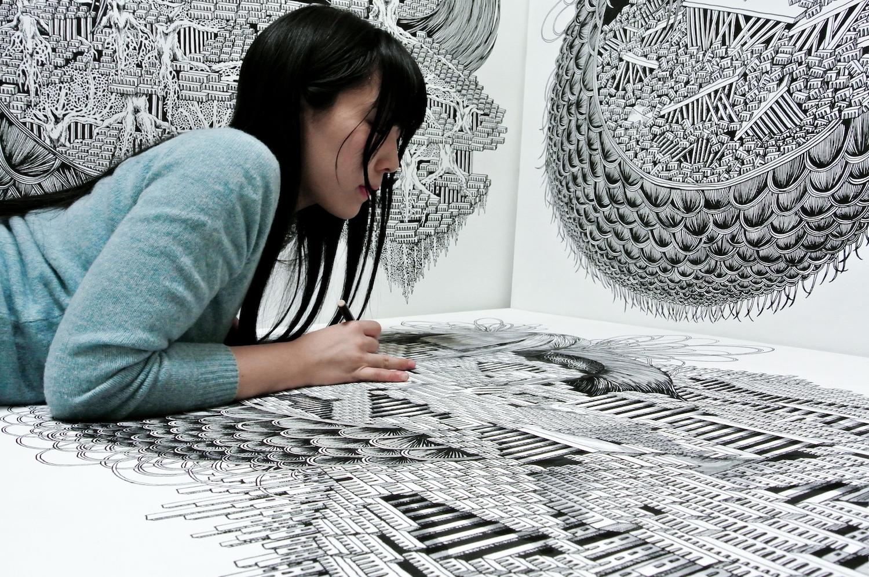 石井七歩(いしいなほ)による2012年の作業風景