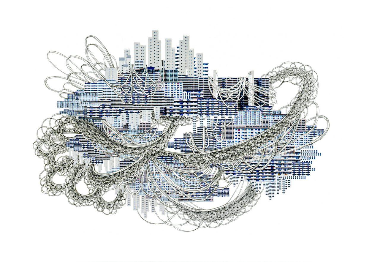 石井七歩(いしいなほ)のアート作品「理想宮(青い団地)」