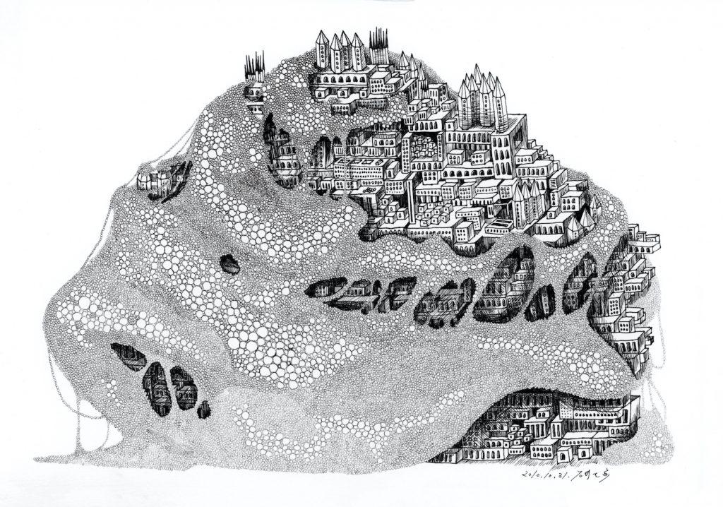 石井七歩(いしいなほ)のアート作品「理想宮(粘菌)」