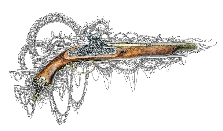 石井七歩(いしいなほ)のアート作品「理想宮(フロントロック銃ブラウン)」