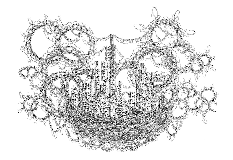 石井七歩(いしいなほ)のアート作品「理想宮(中銀カプセルタワービル02)」