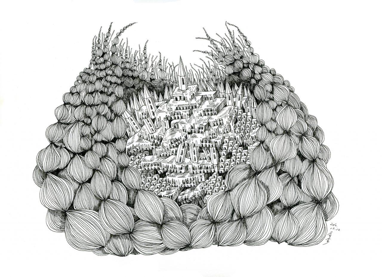 石井七歩(いしいなほ)のアート作品「理想宮(多肉植物)」