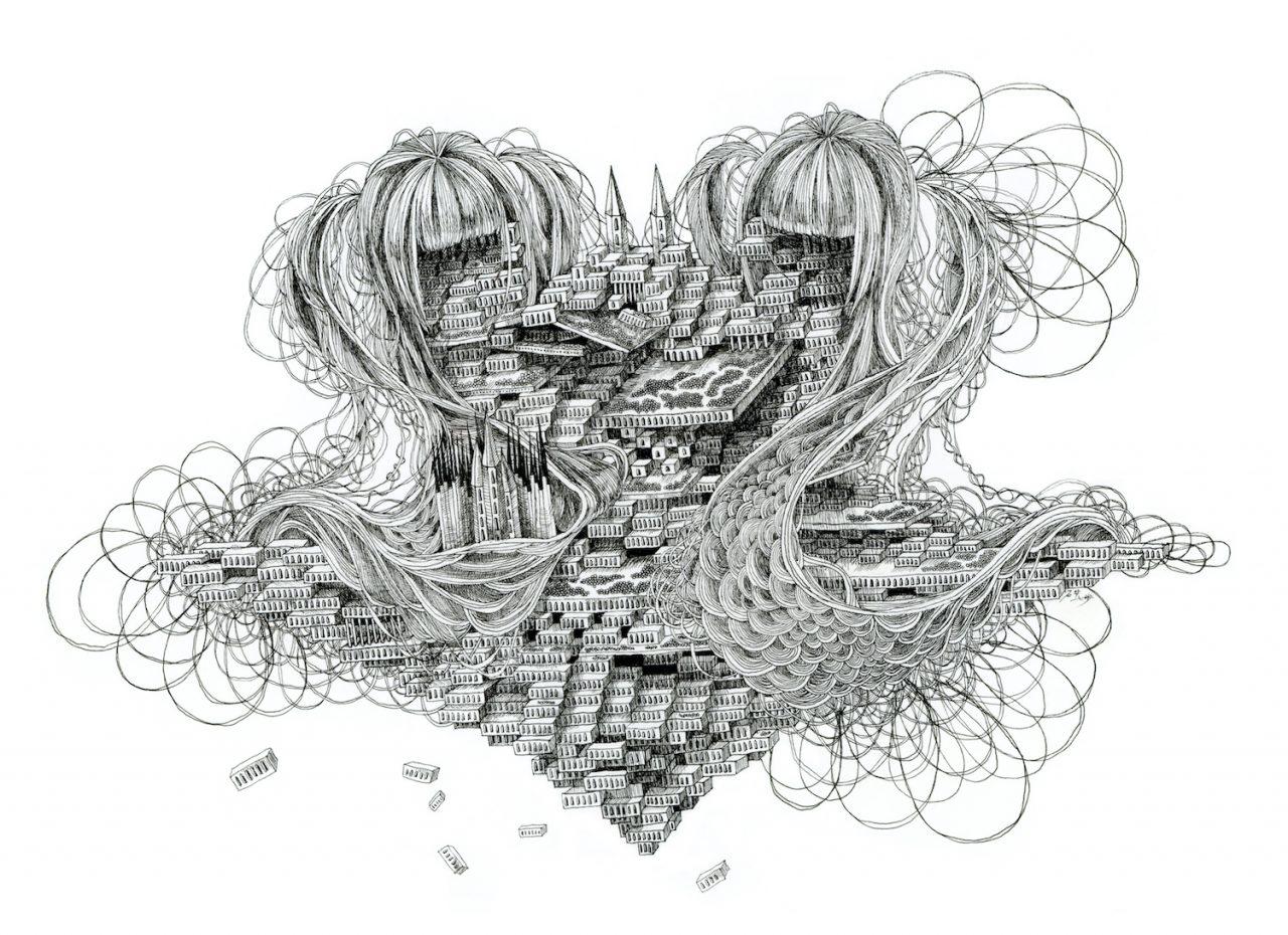 石井七歩(いしいなほ)のアート作品「理想宮(双子)」